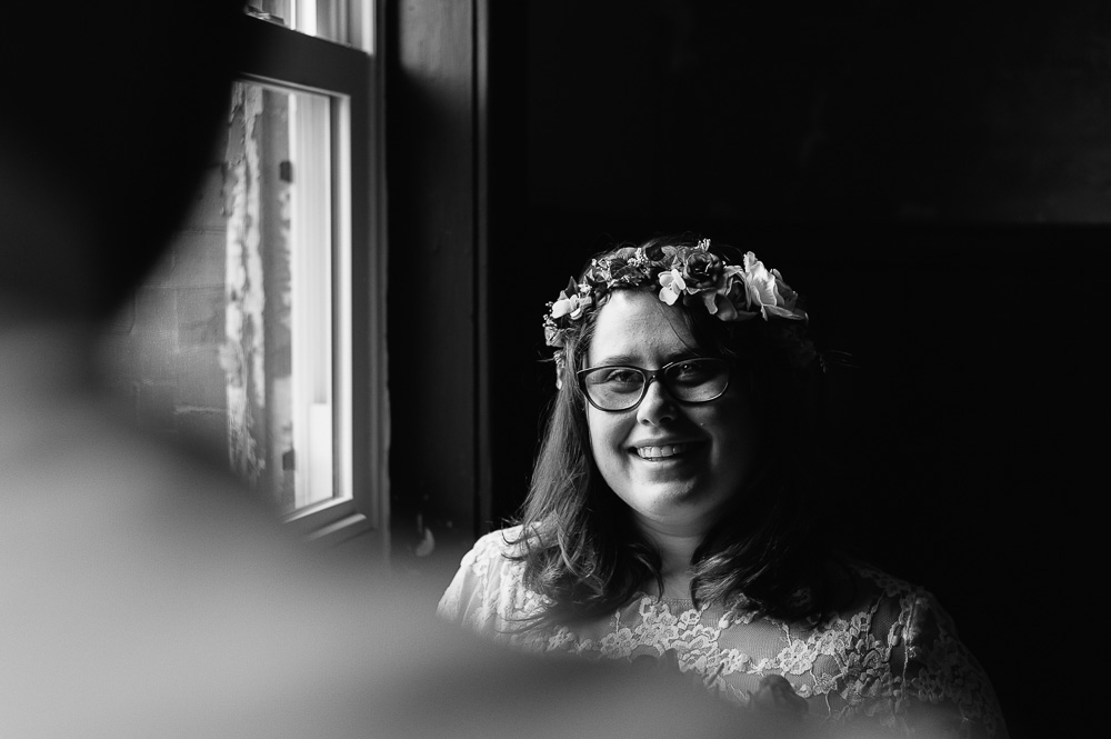 portrait of hipster bride in black and white