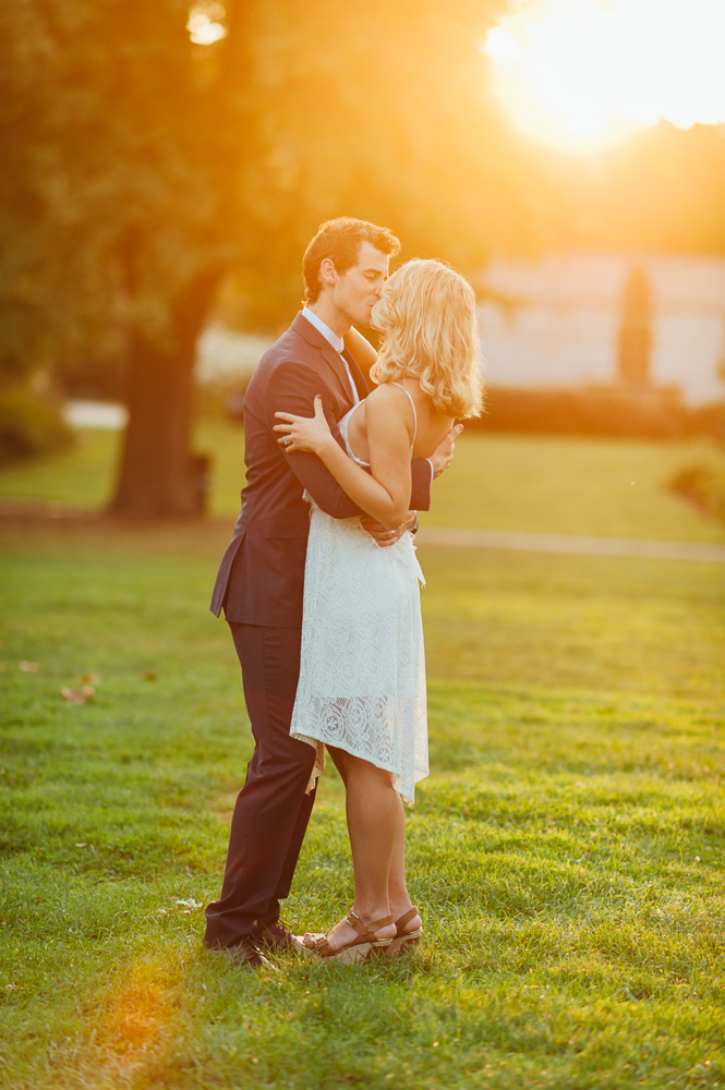Man and Wife Kissing at golden hour