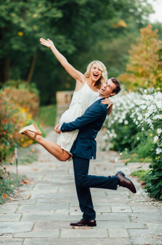 Funny Portrait of married couple posing for the camera
