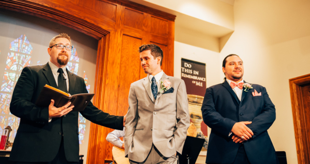 groom waits emotionally for bride to come during wedding ceremony