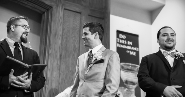 groom gets emotional as he sees bride for the first time during washington landing wedding